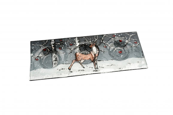 Candle Holder Glass Painted Stag Deer Winter 3 Tlite