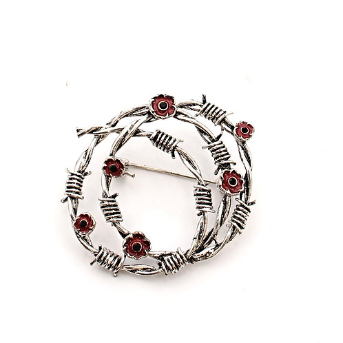 Barbed Wire and Poppies Brooch