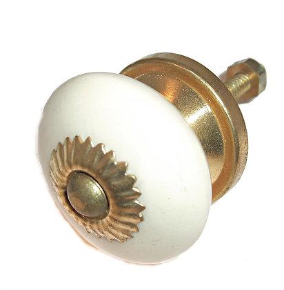 Cream Round Ceramic Drawer Pull