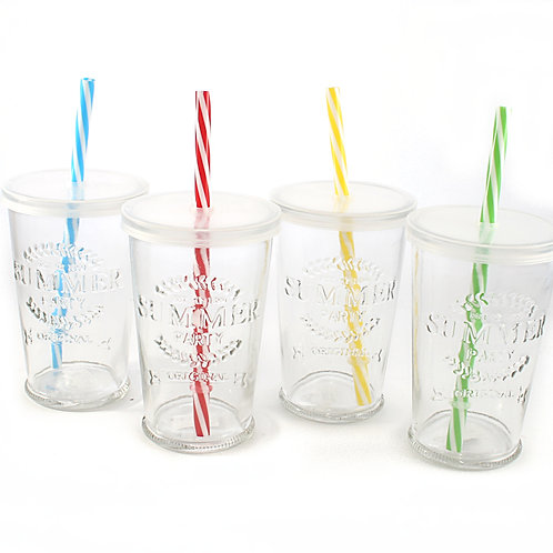 4 Embossed Drinking Glasses with Lid