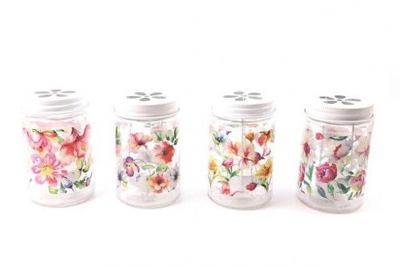 Candle Holder Glass Jar Painted Watercolour Floral 4 Asst