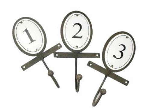 Metal & Enamel Numbered Hook