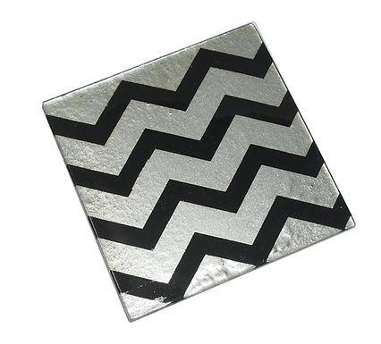 Black Silver Chevron Coaster
