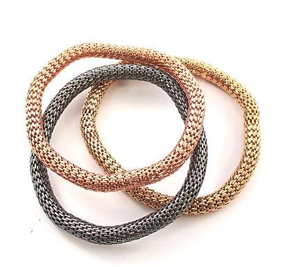 3 Metal Tube Bracelets