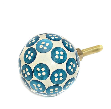 Turquoise Button Drawer Pull