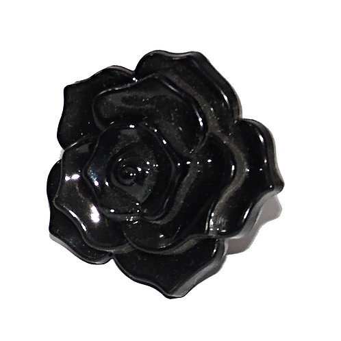 Black Acrylic Rose Drawer Pull