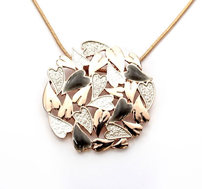 Circle Heart Cluster Necklace