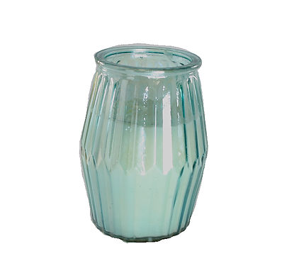 Candle In Ribbed Glass Pot