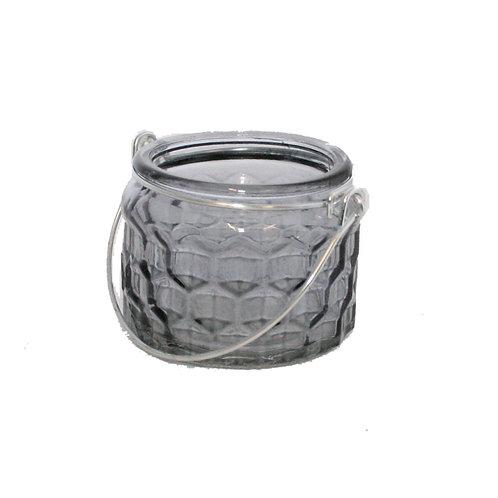 Candle Holder Glass Pot Hanging Metal Handle Grey