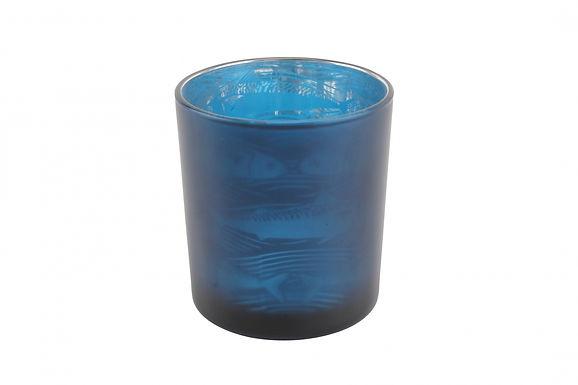 Candle Holder Glass Pot Fish Design Large Harbour Blue