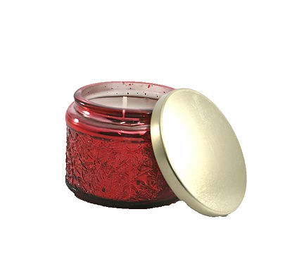 Candle In Red Glass Pot