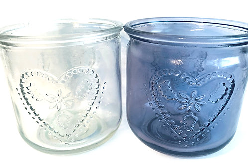 Candle Tlite Holder Heart Embossed Lilac Purple Clear
