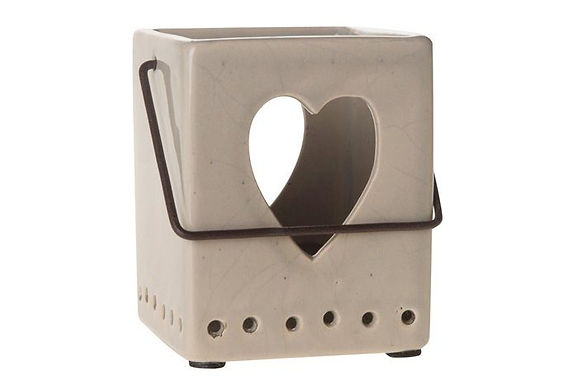 Lantern Candle Holder Ceramic Square Heart Cut Out Cream Metal Handle
