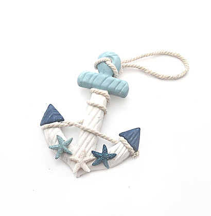 Wooden Anchor with Glitter Stars