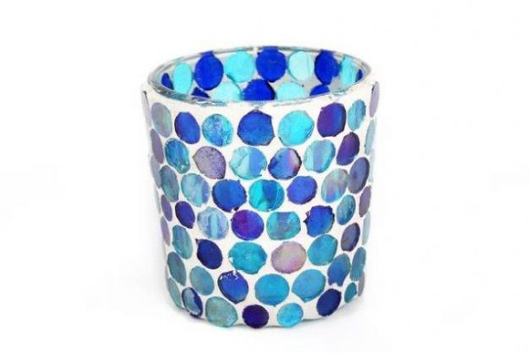 Candle Holder Glass Mosaic Pot Round Blue Turquoise