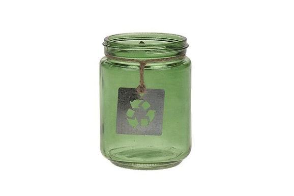 Candle Holder Glass Jar Recycled Green