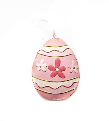 Pink Metal Easter Egg Dec