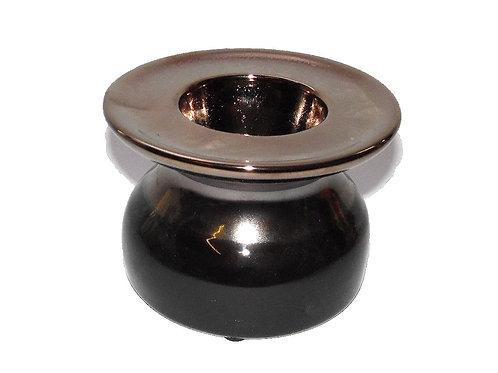 Candle Holder 1 Tlite Ceramic Gold Black Lacquer