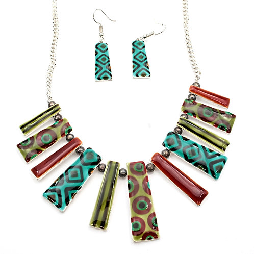 Enamel Sun Ray Necklace and Earrings