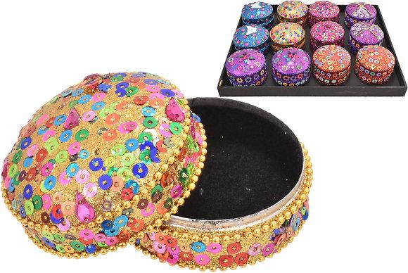 Small Round Glitter Sequin Tin Box