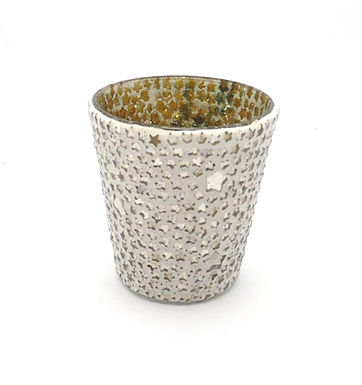 Candle Holder Glass Cup Pot Mosaic Star 1 Tlite White