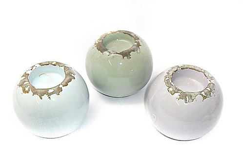Candle Holder Ball Round Ceramic Distressed 3 Asst 1 Tlite