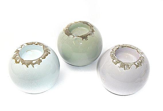 Candle Holder Ball Round Ceramic Distressed 3 Asst 1 Tlite
