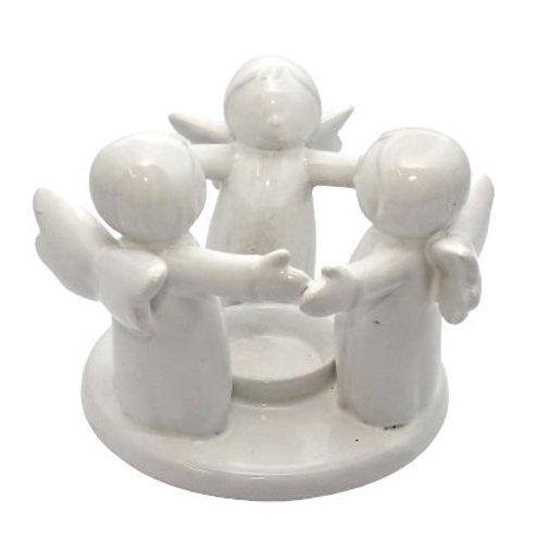 White Angel Candle Holder