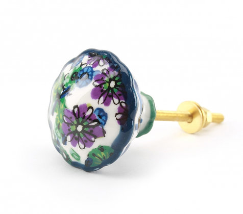Round Floral Painted Drawer Pull