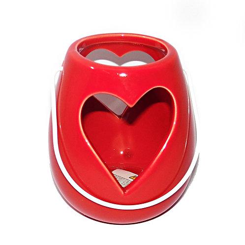 Candle Holder Heart Red Ceramic Lantern Hanging