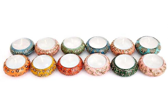 Candle Holder 1 Tlite Ceramic Painted Multi Coloured Round 12 Asst