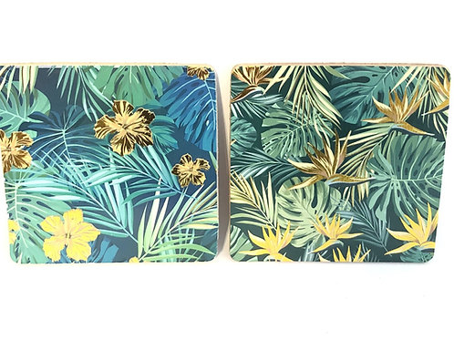 Green and Gold Fern Coaster
