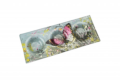 Candle Holder Glass Painted Butterfly 3 Tlite Rectangle
