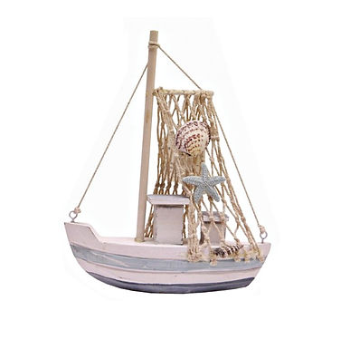 Small Wooden Boat with Nets