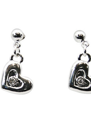 Silver Heart Diamante Earrings