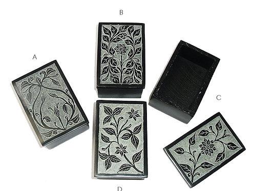 Black Carved Soapstone Box