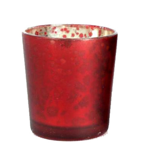 Candle Holder Glass Pot Red Gold Distressed Metallic