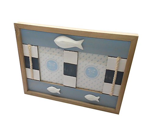 Nautical Twin Wood Blue White Frame