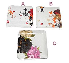 Square Ceramic Floral Plate
