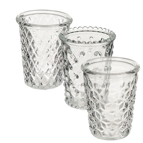 Candle Holder Glass Embossed 3 Asst Cup Clear