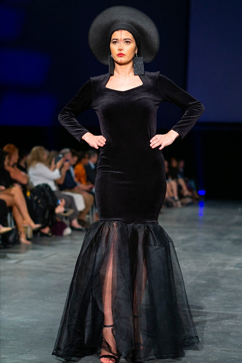 black velvet/tulle full sleeved mermaid gown featuring a sweet heart neckline