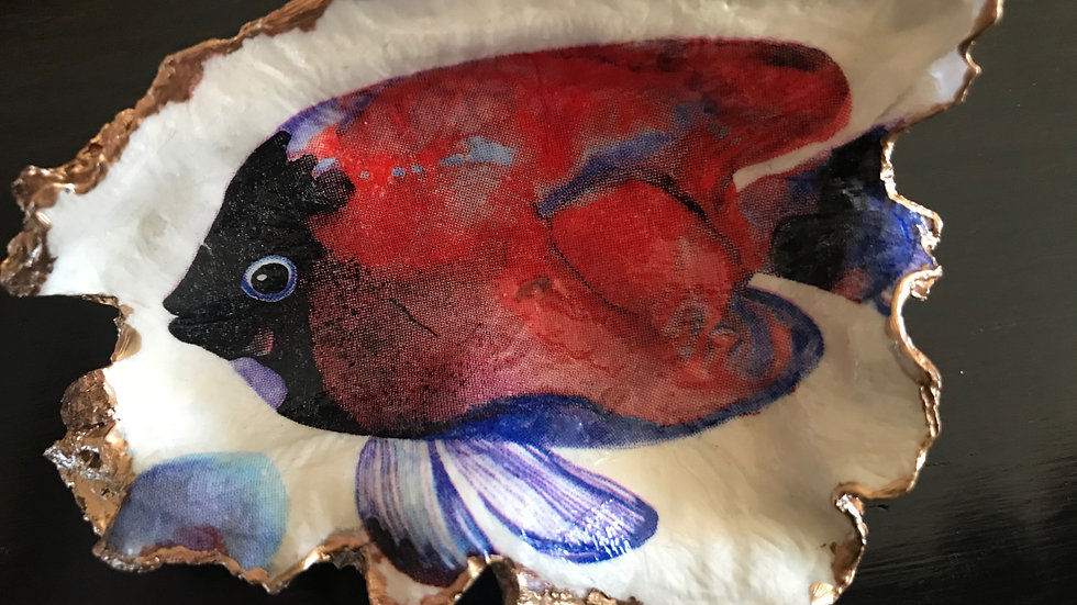 """""""Tropical Fish (Large Red)"""" - Oyster Ornament"""