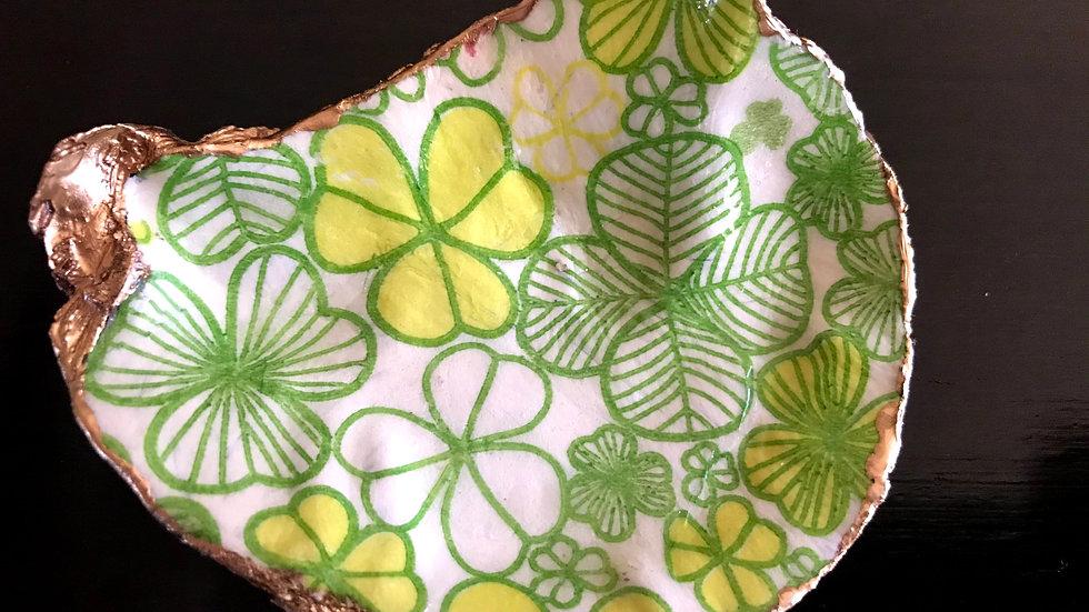 """""""Lucky Four Leaf Clover"""" - Oyster Ornament"""
