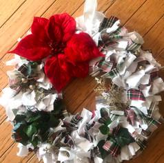 Poinsettia and Plaid Holiday Wreath
