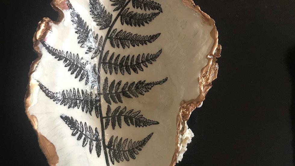 """""""Monochrome Fern"""" - Oyster Ornament"""