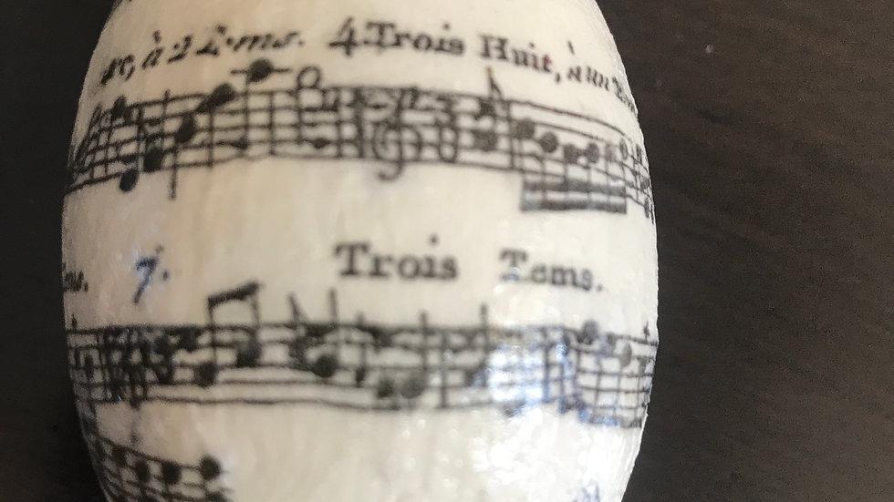 """Musical Manuscript"" - Egg Ornament"