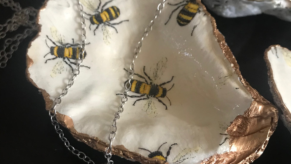"""""""Bee Mine"""" - Oyster Ornament"""