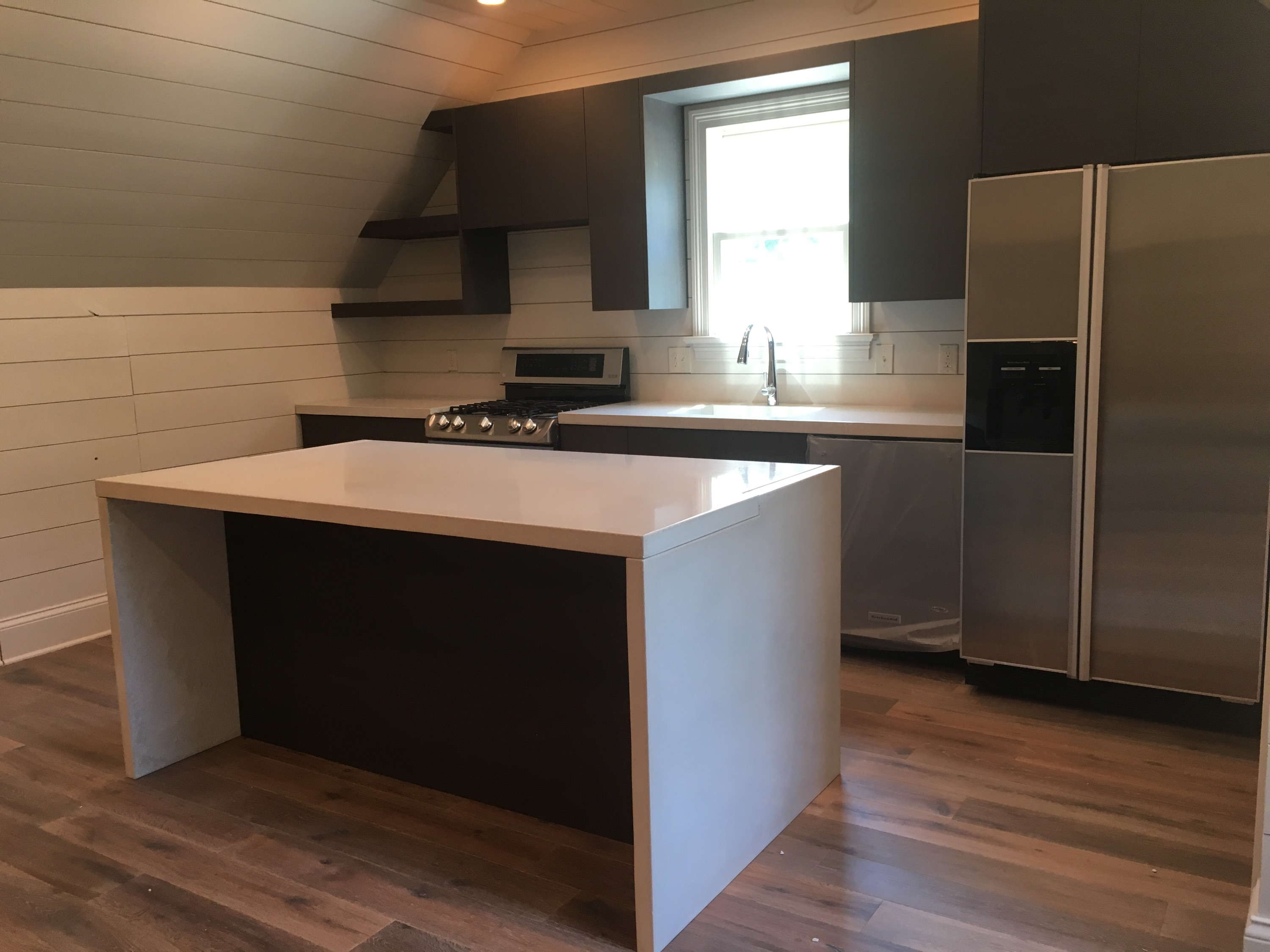 white countertops/ island