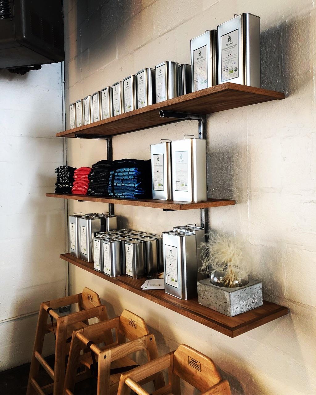 steel and wood display shelves