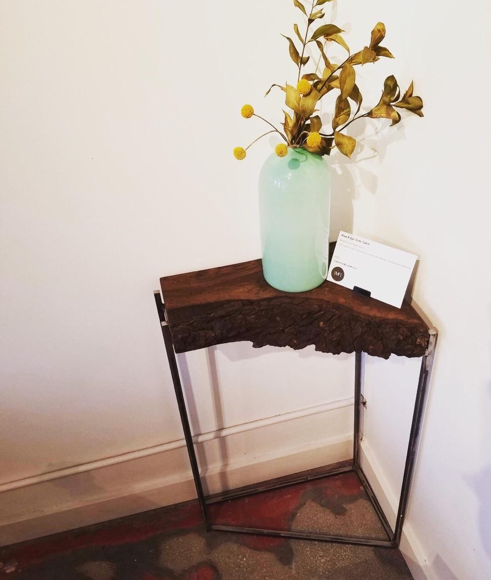 corner table with walnut